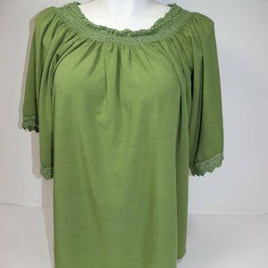 Jodifl Womens Green Loose Blouse 100% Rayon Size M